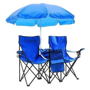 HomVent キャンピングチェア ダブル折りたたみチェア 傘付き
